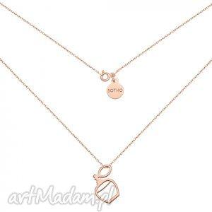 naszyjnik z flakonem perfum różowego złota, modny, naszyjnik, srebro, zawieszka