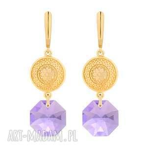 ręczne wykonanie kolczyki złote długie kolczyki z medalionami i kryształami swarovski® crystal