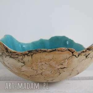 artystyczna miska sardynia turkusowa, dekoracyjna miska, ceramiczna
