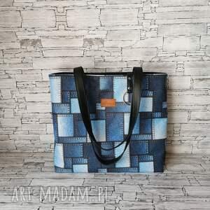 na ramię torebka - jeansowe łatki, damska handmade, shopper kolory