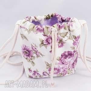 hand-made mini torebka sakiewka worek vintage kwiaty