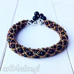 bransoletki czarna bransoletka elegancka złota koralikowa idealna na sylwester