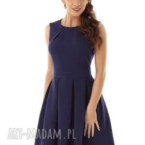 sukienka kontrafałda kolor granatowy 002, elegancka sukienka, koktajlowa