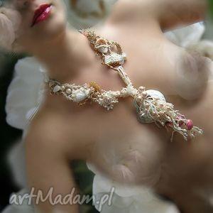 morskie opowieści - kolia - kolia, naszyjnik, perły, muszle, beading