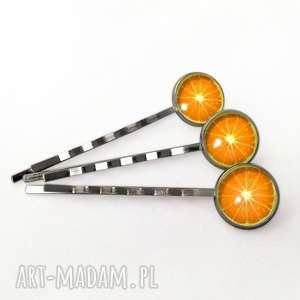 Pomarańcze - 3 wsuwki do włosów - ,pomarańcz,owocowe,dziewczęce,wsuwki,włosów,komunia,