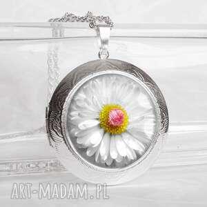 stokrotka w szkle _ piĘkny naszyjnik medalion otwierany - kwiaty, elegancki, srebrny