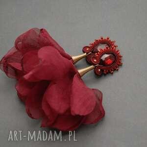 klipsy sutasz z kwiatkiem, sznurek, bordowe, wino, eleganckie, bordo, delikatne