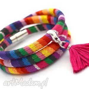bransoletki bransoletka magnetoos boho rainbow 2 z chwostem, rzemień, tkanina