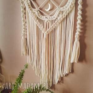 dekoracje makrama ze sznurka wisząca 5mm boho z księżycem, ecru