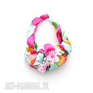 flower power naszyjnik handmade, naszyjnik, kolorowy, wielobarwny, kwiaty, pastele