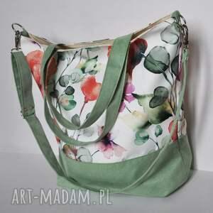 na ramię torba - worek xxl maki, print, wegańska, eko zamsz