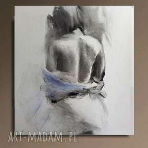 obraz z błękitem, rysunek kobieta, duża grafika duży