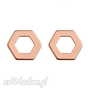 kolczyki sześciokąty z różowego złota - geometryczne