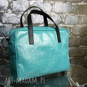 przepiękna turkusowa torba na laptopa i dokumenty, ekoskóra, laptop, dokumenty