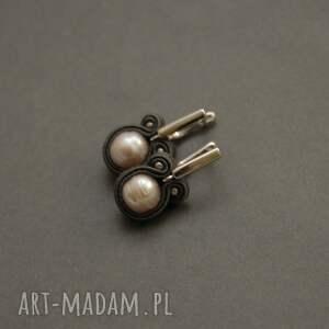 kolczyki sutasz z perłami, sznurek, wyjściowe, delikatne, eleganckie, grafitowe