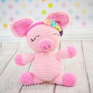 szydełkowa pani goloneczka, świnka, świnia, różowy, prosiaczek, szydełkowa, prezent