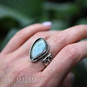 regulowany pierścień z larimarem, pierścionek, srebro