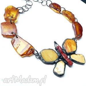 bursztynowy motyl w naszyniku piękny prezent hand made - bursztyn, motyl, efektowny
