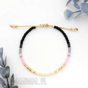 Bransoletka minimal - autumn pink ilovehandmade minimalistyczna