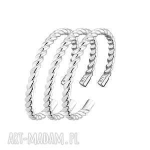 zestaw trzech srebrnych obrączek sotho - pierścionki obrączka