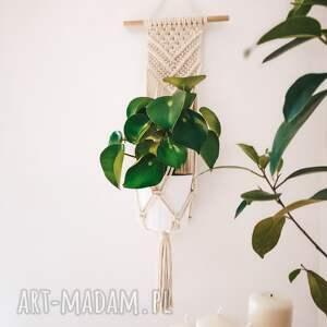 dekoracje makrama kwietnik wiszący ścienny triangle gold - naturalny beż złoty