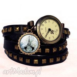 assassin s creed unity - zegarek bransoletka na skórzanym, eiffla