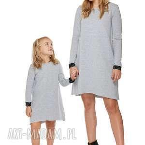 mama i córka sukienka dla córki ld5/1, sukienka, dresowa, koronka, rozkloszowana