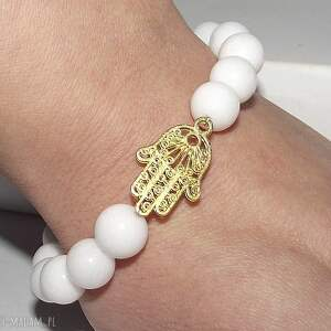 bransoletki hamsa w bieli, kamienie, hamsa, fatimska, ręka, charms, elegancka