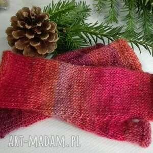 hand made rękawiczki mitenki ombre czerwień