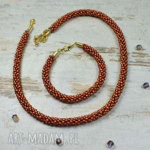 kameleon komplet biżuterii z koralików - naszyjnik i bransoletka, biżuteria
