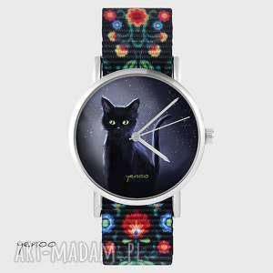 zegarek - czarny kot, noc folk czarny, nato, zegarek, bransoletka, nato