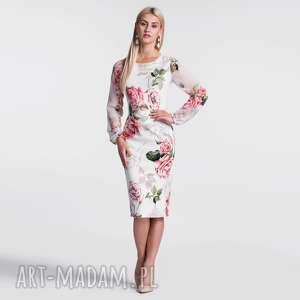 unikalny, lidia midi rosanna, sukinka, midi, dopasowana, róże, kwiaty