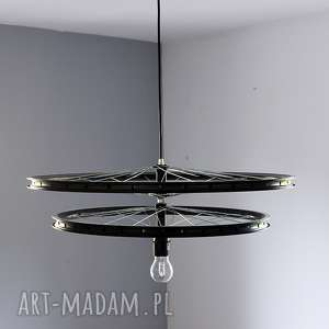 lampa double, duża, loftowa, recycylig, oryginalna, okrągła, rowerzysta
