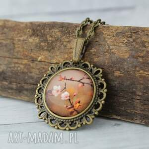 szklany medalion etno - autumn, medalion, wisiorek, kwiaty, jesień, vintage, mały