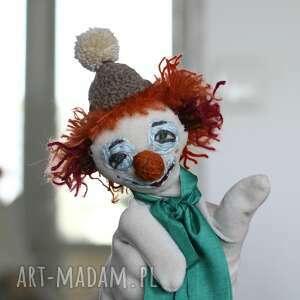 handmade maskotki lalka pacynka na rękę pomarańczowy klown