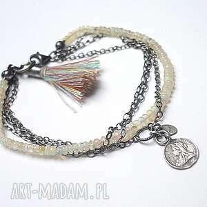 Opale - bransoletka, srebro, opale, chwost, moneta, boho