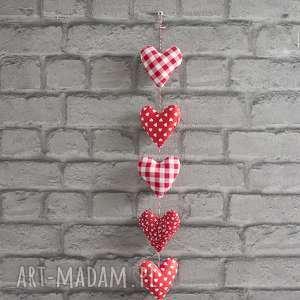 ręcznie wykonane dekoracje walentynkowa czerwona zawieszka serca
