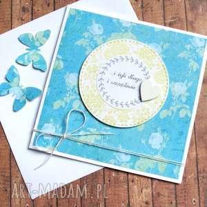 kartka ślubna handmade turkus, ślub, rocznica