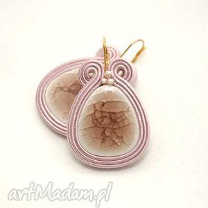 kolczyki sutasz z ceramiką, soutache, sznurek, ceramika, różowe, pudrowy, jasne
