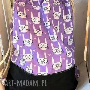 worek plecak króliczki, plecak, worek, bawełniany, szkoły, przedszkola