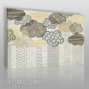Obraz na płótnie - CHMURY BEŻOWY 120x80 cm (51202), chmury, neutralny, kreski