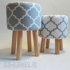 pufa koniczyna maroco szaro - biała 2, puf, stołek, ryczka, hocker, siedzisko
