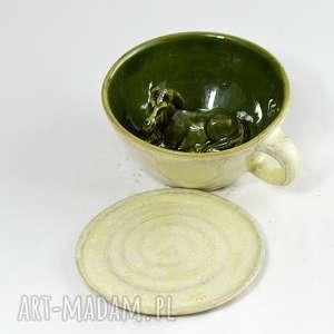 ceramika ceramiczna duża filiżanka kubek z figurką konia walentyki, dzień matki