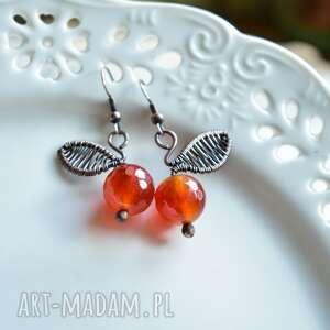 pomarańczki - kolczyki z agatami, pomarańcze, jabłka