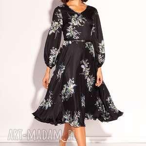 sukienka ida, wesele, jedwabna, kwiaty, letnia, rozloszowana, lekka