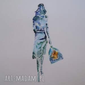 pani ocean - akwarela z przesłaniem aksinicoffeepainting - odchodząca kobieta