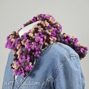 handmade chustki i apaszki bąbelkowy szal - fiolet z brązem
