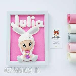 AnaDu: personalizowany obrazek z antyalergicznego filcu wełnianego- bobas króliczek