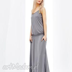Szara niebanalna sukienka z asymetrycznym dołem Stripe, sukienka, krotki, rekaw