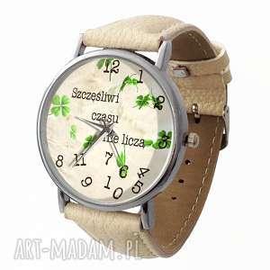 Szczęśliwi czasu nie liczą - Skórzany zegarek z dużą tarczą, zegarek, beżowy